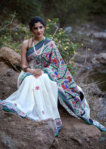 Exclusive hand painted madhubani cotton saree with all over painting