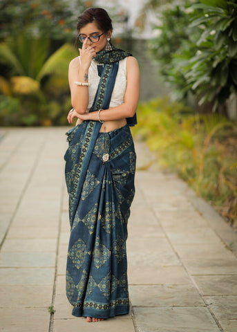 Pure modal silk ajrakh block printed blue saree with square patches