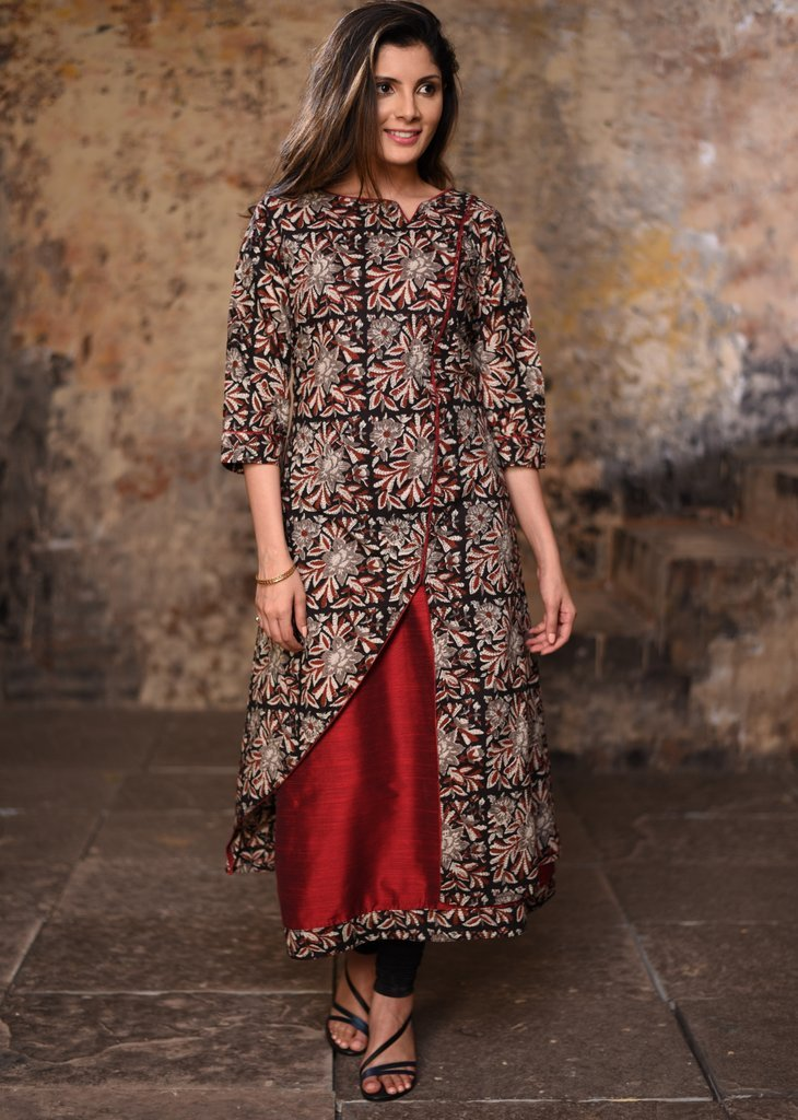 Double layered printed cotton asymetric dress with cotton silk inner