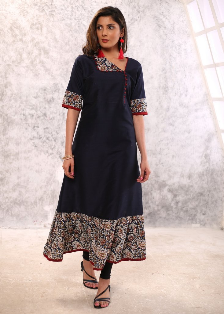 Dark blue cotton silk with printed kalamkari designs frill