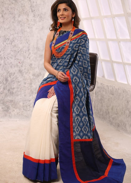 Exclusive Ikat & off white chanderi combination saree