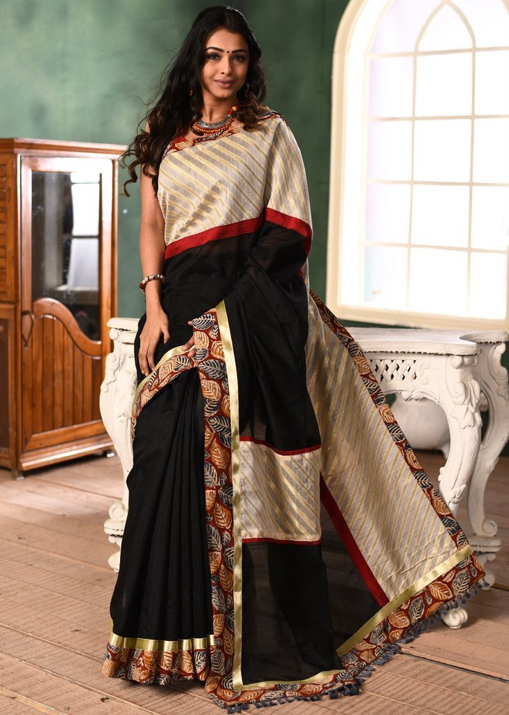 Black chanderi saree with exclusive benarasi & printed cotton border - Sujatra