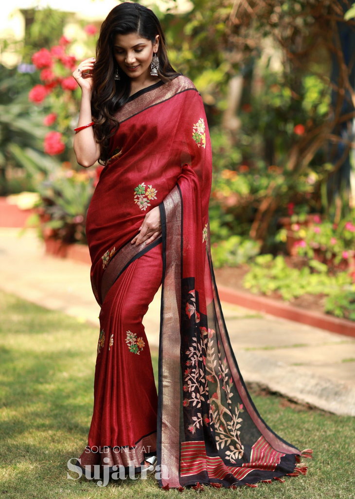 Maroon jute linen mix saree with floral print - Sujatra