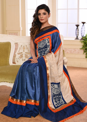 Blue & beige combination pure silk saree with abstract print & zari border