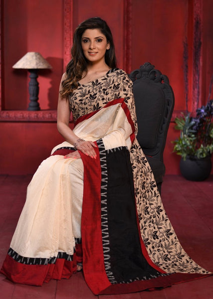 Beige chanderi saree with exclusive kalamkari printed border