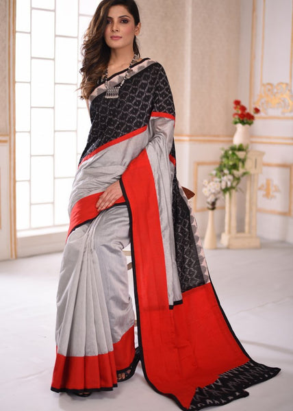 Grey chanderi saree with ikat border & red cotton silk pallu