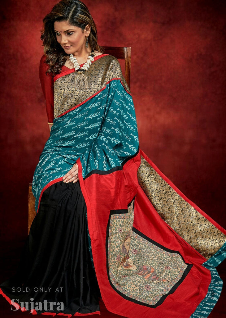Exclusive Ikat & benarasi combination saree with hand painted madhubani work