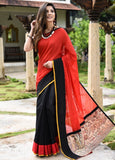 Handloom red kota cotton with handwoven butas with black chanderi saree & madhubani printed patch