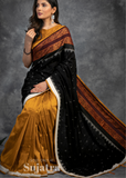 Exclusive temple border ikat saree with sambalpuri design border & cotton silk pleats