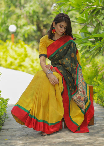 Block printed Ajrakh & yellow handloom cotton combination saree with hand painted madhubani patch on pallu