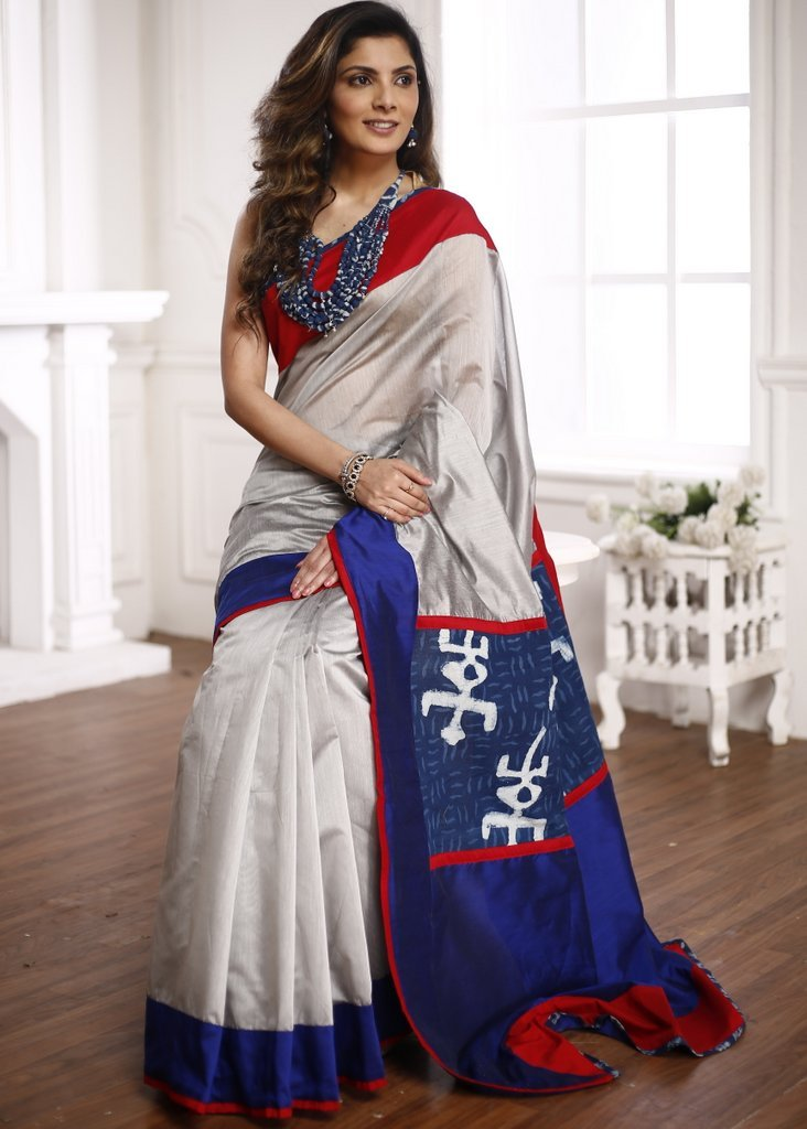 Grey chanderi saree with exclusive indigo work patch