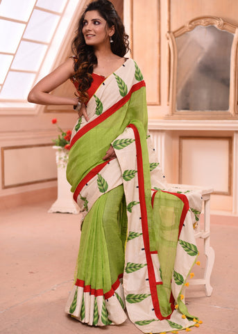 Exclusive green pure linen saree with printed border & contrast blue piece