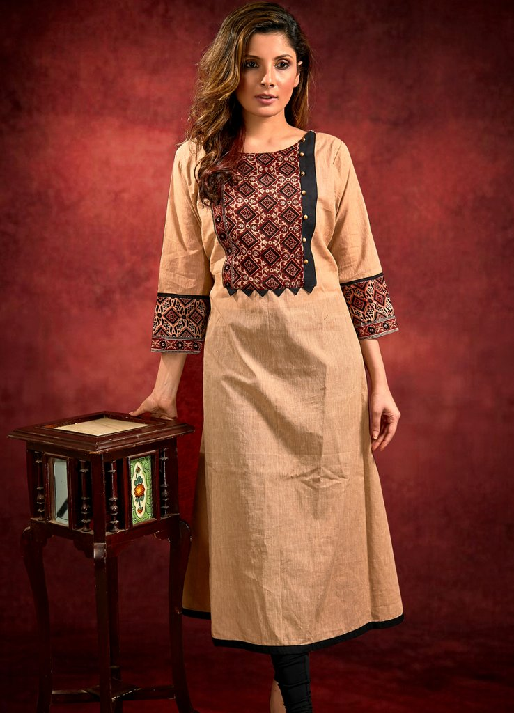 Handloom Cotton Kurta with Ajrakh Yoke and Cuffs