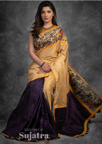 Golden semi silk saree with purple benarasi pleats saree with hand painted madhubani border