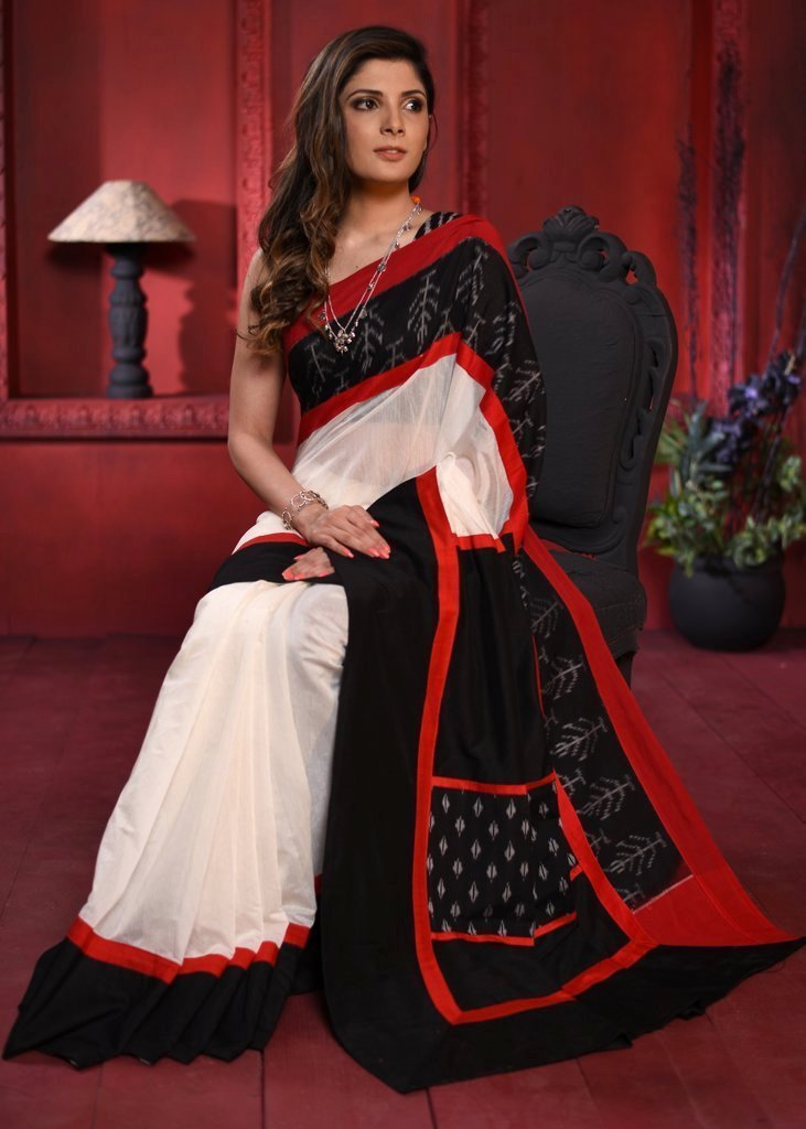 White chanderi saree with exclusive ikat border & patch on pallu - Sujatra