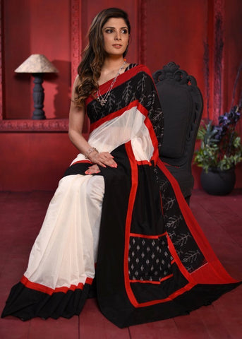 White chanderi saree with exclusive ikat border & patch on pallu