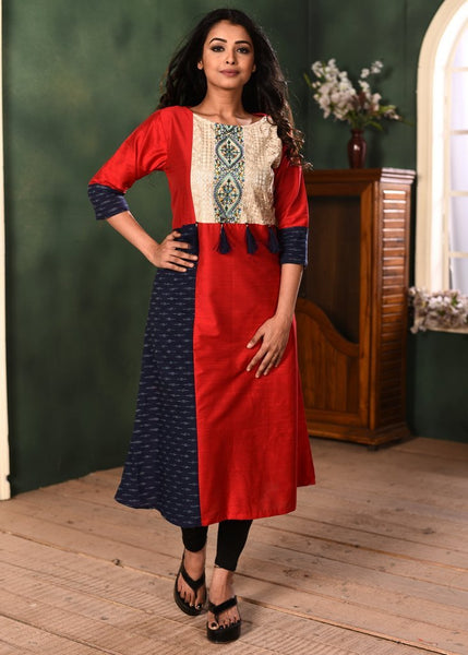 Exclusive red cotton silk kurti with embroidered yok and ikat combination