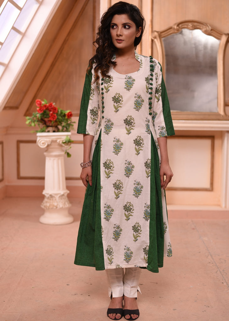 Exclusive block printed mul kurti with green handloom cotton combination