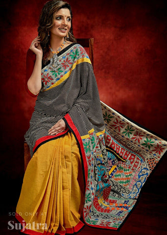 Exclusive handloom saree with Ajrakh stripes & hand painted madhubani combination