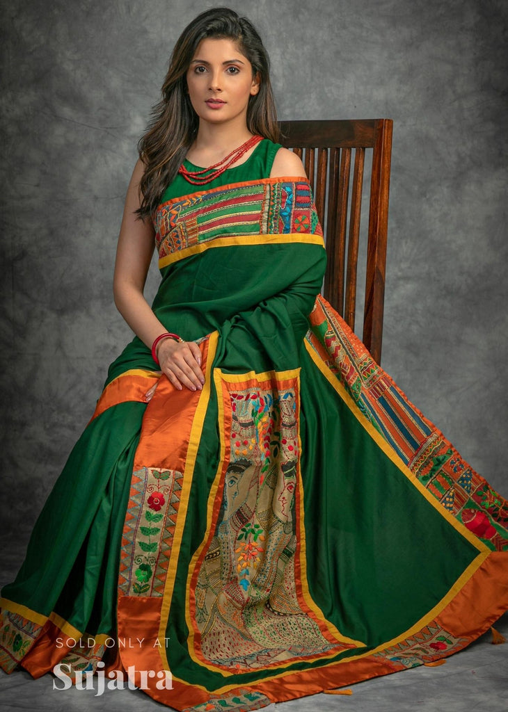 Green crepe satin saree with hand embroidered kutch work combination