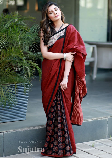 Handloom cotton saree with handpainted madhubani painted border & ajrakh block printed pleats