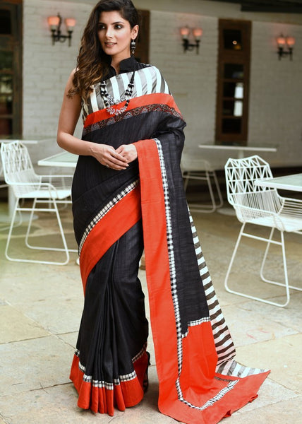 Black pure raw silk saree with satin striped border - Sujatra