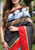 Grey striped chanderi saree & with light grey chanderi pleats & exclusive hand batik border