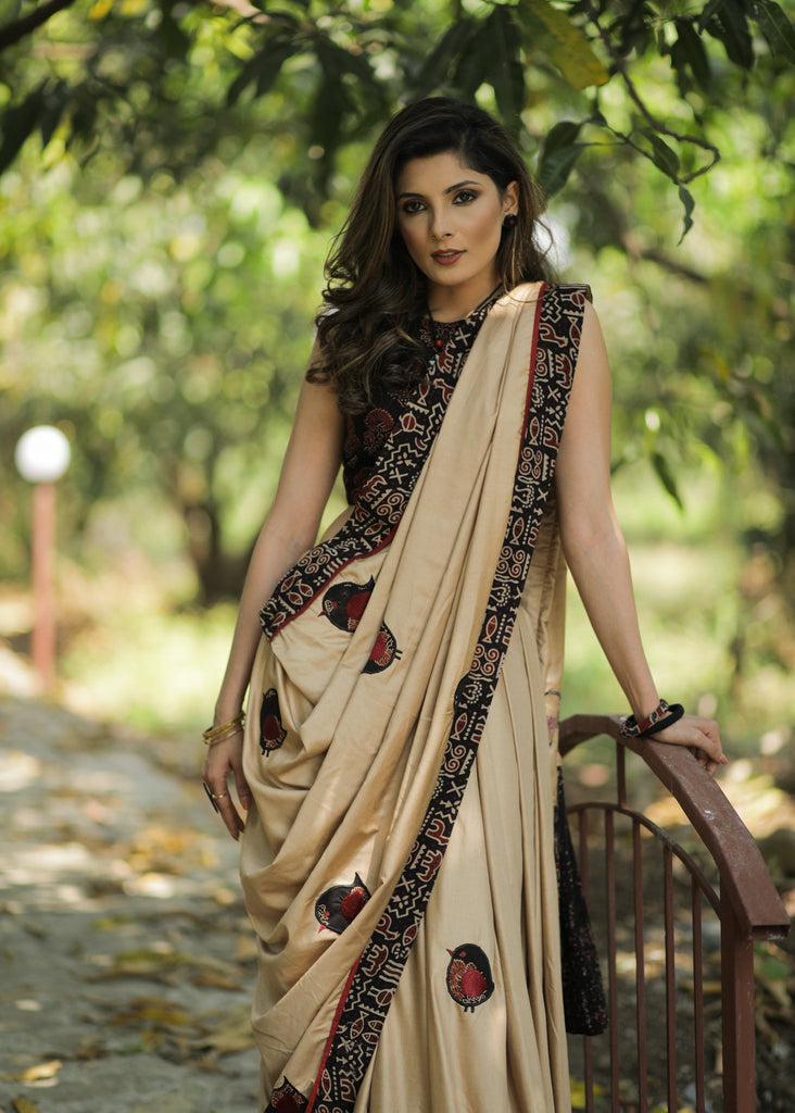 Exclusive semi silk saree with applic work with Ajrakh design