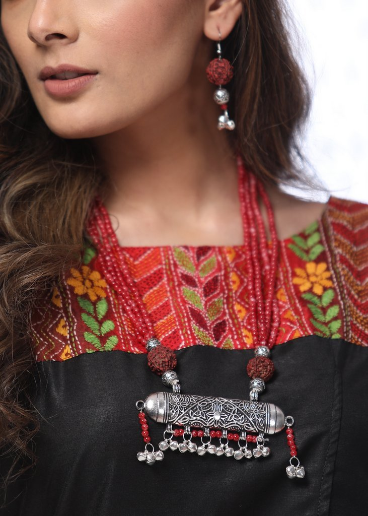 Exclusive german silver pendant with red beads & rudraksh neckpiece with rudraksh earings - Sujatra