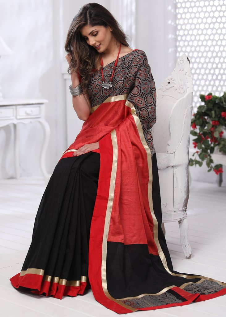 Red tasar silk with block printed ajrakh border & black chanderi pleats