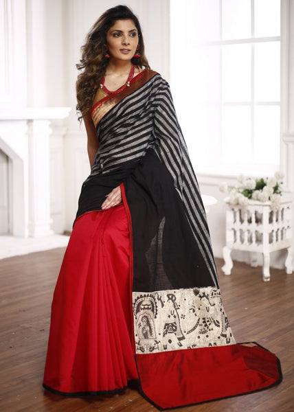 Striped handloom cotton with red chanderi & zari border saree with madhubani printed patch