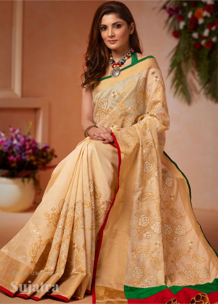 Offwhite cotton silk saree with cross stitch embroidery - Sujatra