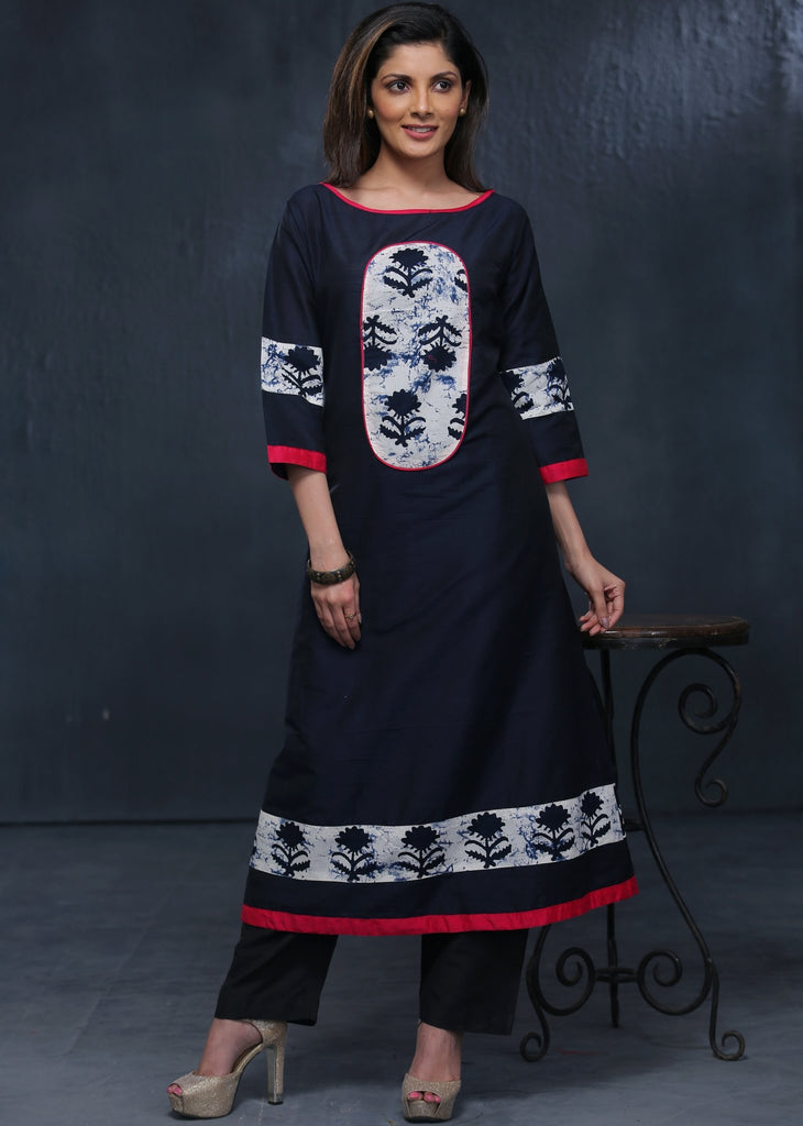 Dark Blue cotton silk Kurta with exclusive floral patch & pink cotton silk border - Sujatra