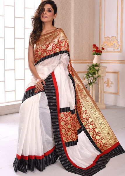 White chanderi saree with exclusive benarasi & ikat combination border