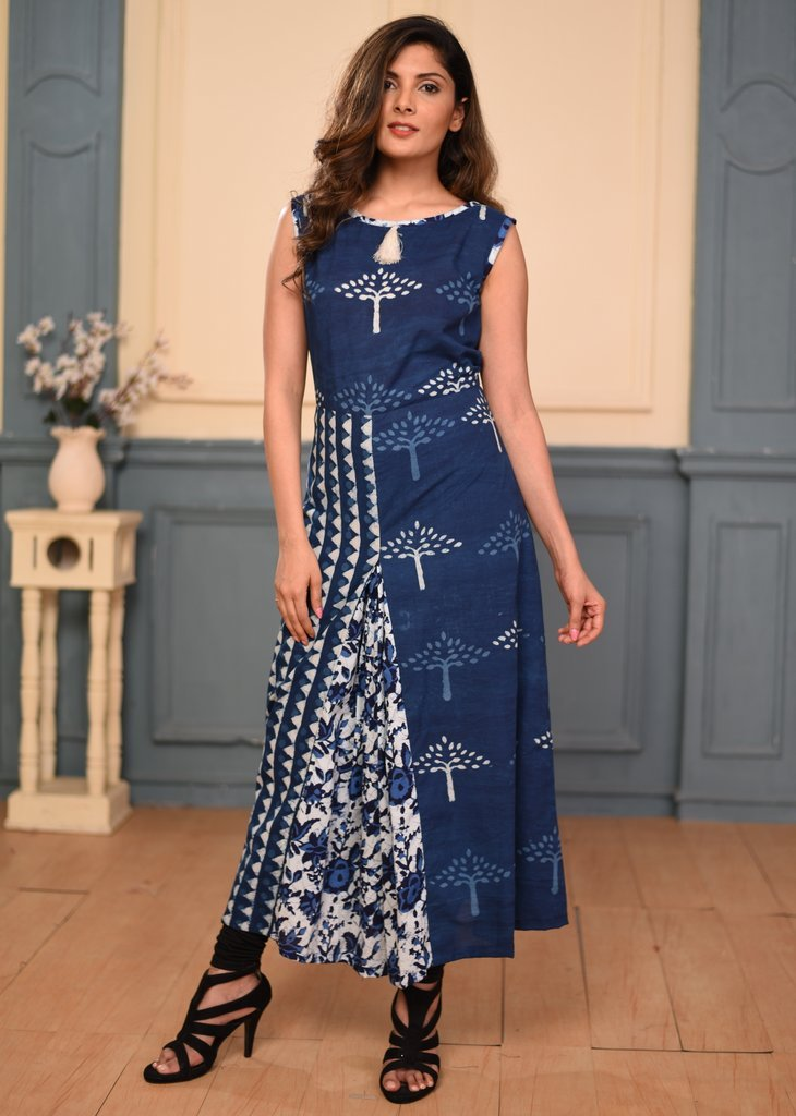 Exclusive Indigo print ankle length dress