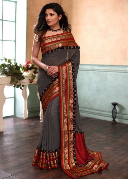 Grey georgette viscose saree with exclusive benarasi border