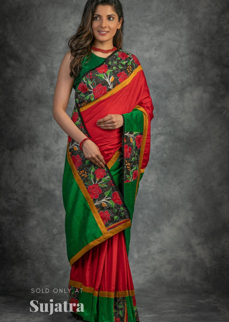 Red semi silk saree with hand embroidered kantha work border