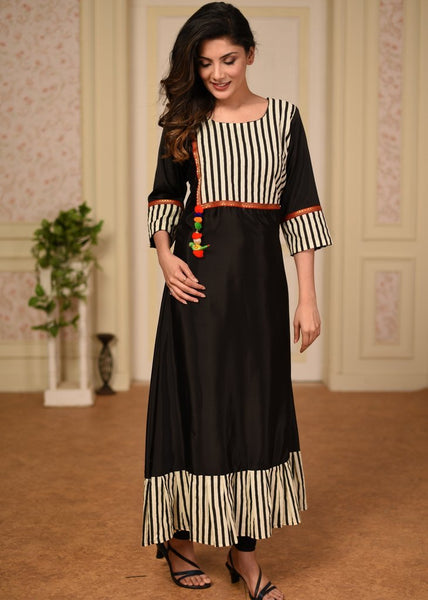 Black french crepe kurti with striped yok and zari border
