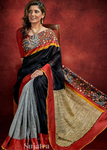 Pure black & grey linen saree with hand painted kalamkari border
