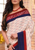 Pure handloom cotton ikat saree with hand batik border - Sujatra