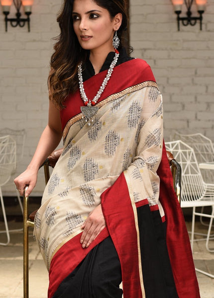 Exclusive printed jute cotton combination with black chanderi & zari combination saree