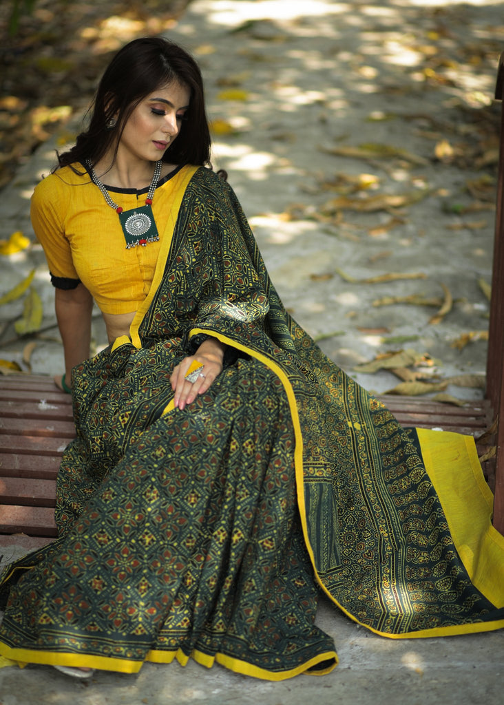 Exclusive block printed Ajrakh saree with natural color