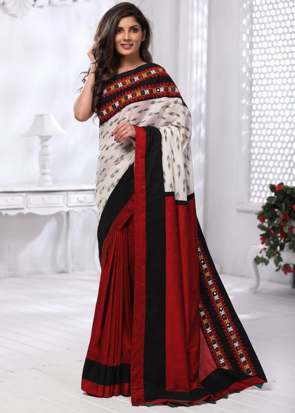 Exclusive Ikat and kutch mirror work combination saree with red cotton silk pleats