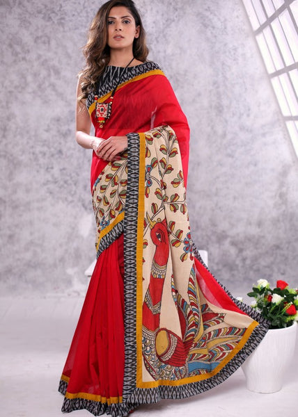 Red Chanderi & hand painted kalamkari combination pallu & border with ikat blouse piece