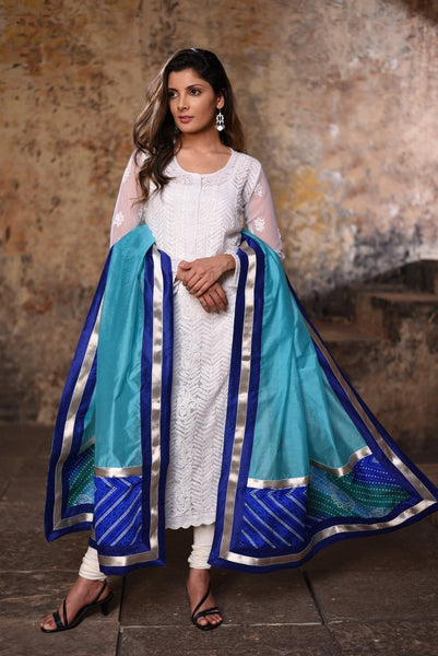 Light Blue chanderi dupatta with bandhani patch
