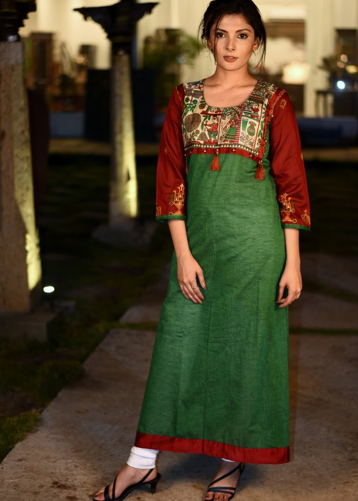 Dark Green handloom cotton kurti with madhubani printed yok