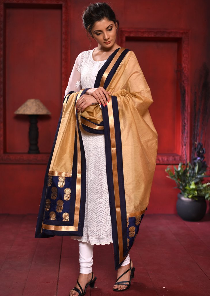 Golden chanderi dupatta with benarasi combination - Sujatra