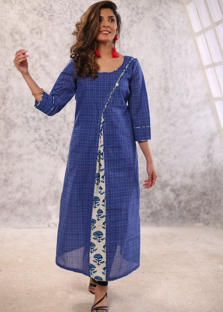 Exclusive Handloom cotton self checks with indigo print kurta