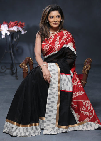 Ikat & Batik combination work with black chanderi saree