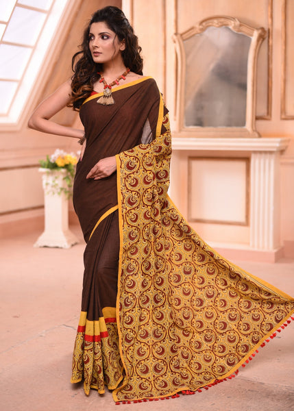 Brown handloom cotton saree with hand block printed Ajrakh pallu - Sujatra